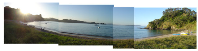 Beach panorama at dusk, view from our campsite